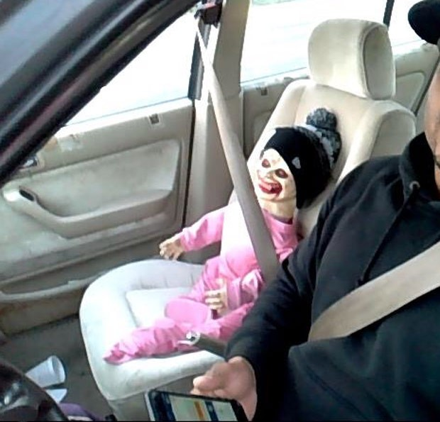 Guy Dressed As Car Seat Driving