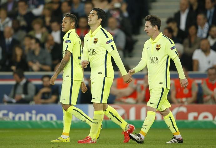Messi, Luis Suárez e Neymar - Barcelona x PSG (Foto: Reuters)