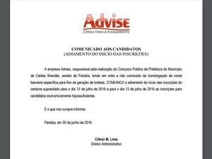 Comunicado com aviso do adiamento foi publicado no site da organizadora dos concursos (Foto: Reprodução/Advise)
