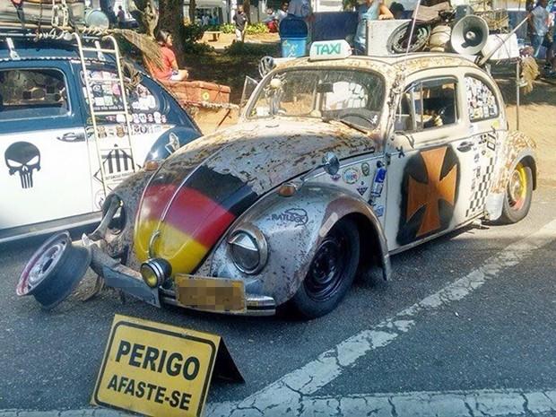 Fusca enferrujado é atração em encontros de carros antigos (Foto: Marcus Vinicius de Moura Moreira Andrade da Silva/ arquivo pessoal)