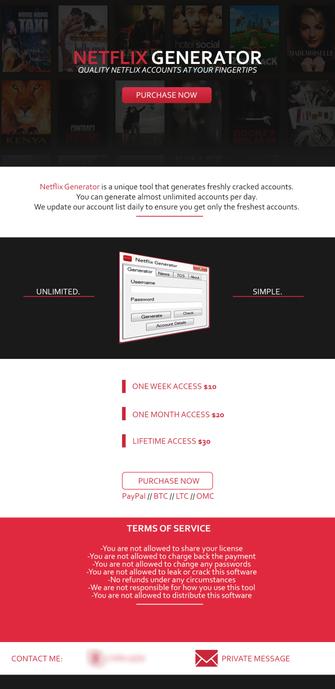Netflix Generator é golpe! SIte promete Netflix mais barato e rouba logins e senhas (Foto: Reprodução/Symantec)