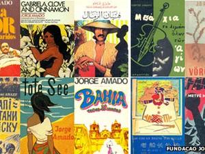 Capas de livros de Jorge Amado publicados em diversas línguas (Foto: Divulgação/BBC)