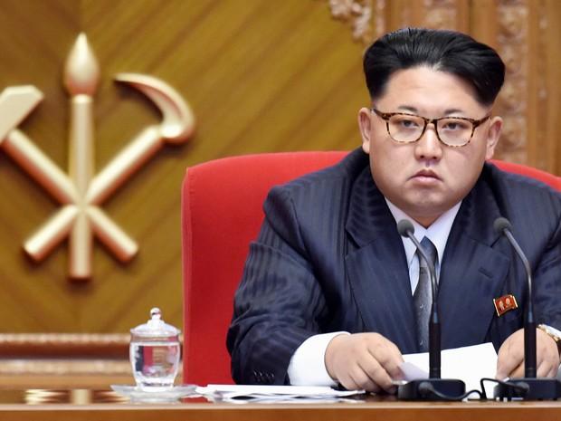 Líder da Coreia do Norte, Kim Jong-un, tornou-se presidente do partido único do país (Foto: Kyodo via Reuters)