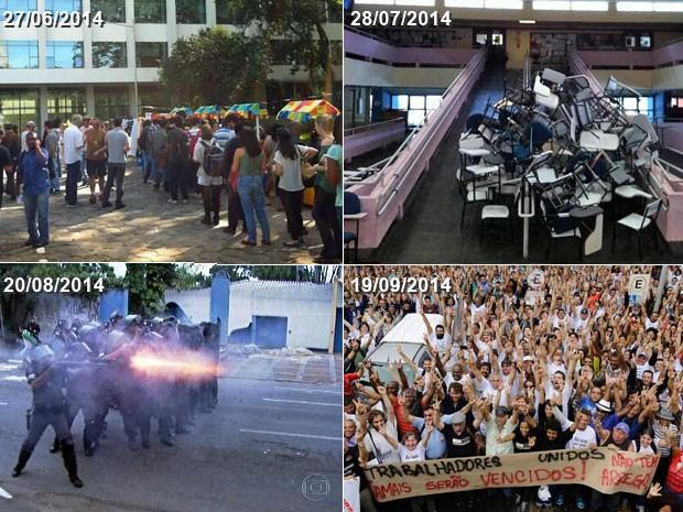 Quatro momentos da greve da USP: em junho, funcionários fazem festa junina em protesto na frente da Reitoria; em julho, greve completou dois meses com semestre interrompido; em agosto, tentativa de fechar portão da Cidade Universitária fez com que PM interrompesse protesto de grevistas; em setembro, Sintusp vota pelo fim da greve (Foto: Ana Carolina Moreno/G1/Reprodução/TV Globo/Nelson Antoine/Frame/Estadão Conteúdo)
