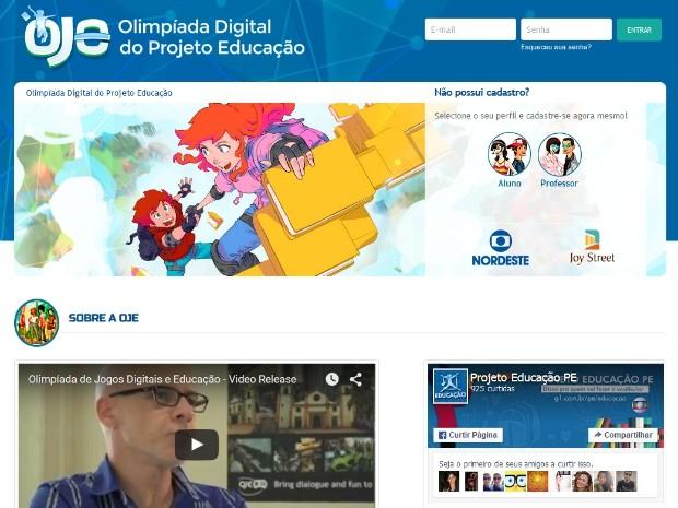 Página de apresentação da Olimpíada Digital do Projeto Educação. (Foto: Reprodução/Facebook)