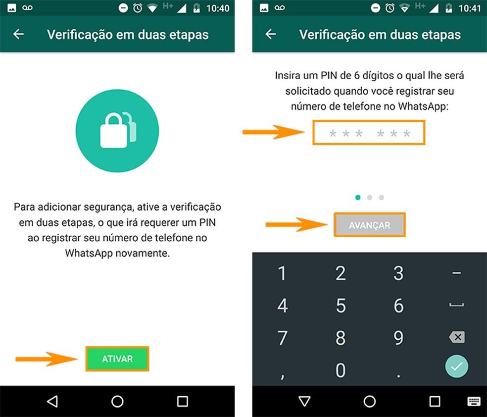 Adicione um código de verificação no WhatsApp (Foto: Reprodução/Barbara Mannara)