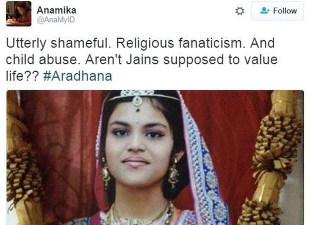 Morte de Aradhana Samdariya reacendeu discussão sobre jejuns religiosos (Foto: BBC/Reprodução/Twitter)