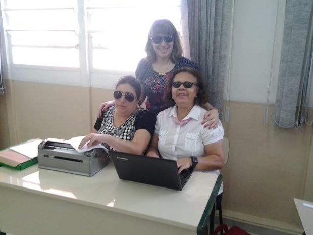 Professores cegas   (Foto: Janete Brandão de Moura Effting/VC no G1 )