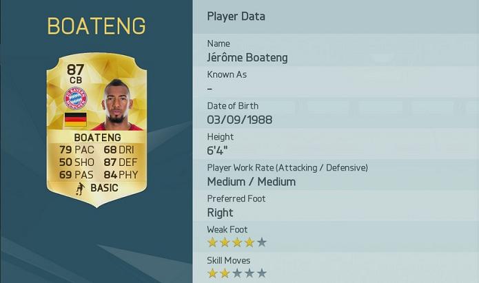 Boateng é um ótimo zagueiro no Fifa 16 (Foto: Divulgação/EA Sports)