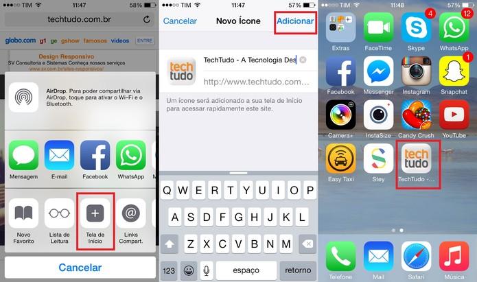 Crie um atalho para suas páginas favoritas na tela principal do iPhone (Foto: Reprodução/Juliana Pixinine)