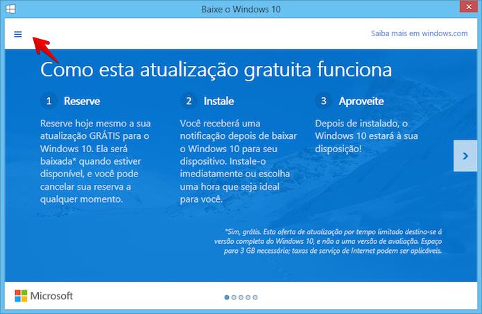 Abra o menu do aplicativo (Foto: Reprodução/Helito Bijora)