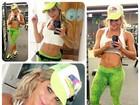 Karina Bacchi malha pesado e volta a mostrar barriga em gomos