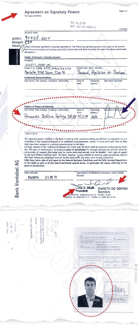 Conta aberta por offshore tem Bethlem como procurador. Ele apresentou o passaporte ao banco (Foto: reprodução)
