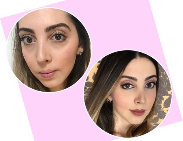 À esquerda: uma semana após retocar a extensão (sem maquiagem)/À direita: um dia após o retoque (com maquiagem) (Foto: Arquivo pessoal)