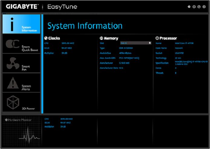 EasyTune é um utilitário da Gigabyte para ajudar a fazer undervolting (Foto: Divulgação/Gigabyte)