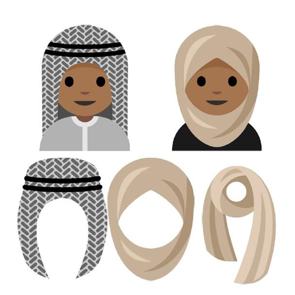 Adolescente muçulmana desenhou emoji feminino usando véu e hijab e um masculino usando keffyieh (Foto: Reprodução)