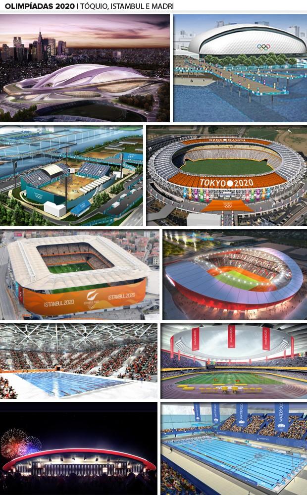 istambul madri toquio olimpiadas 2020 mosaico (Foto: Divulgação)