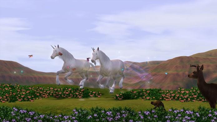 O Sim pode domar unicórnios, cervos e guaxinins se fizer amizade com os animais (Foto: Reprodução/The Sims Wikia)