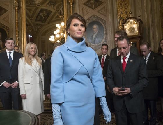 A primeira-dama Melania Trump, no dia da posse do marido, Donald Trump (Foto: Getty Images)