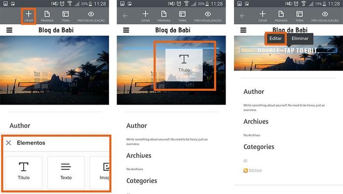 Adicione novos textos e imagens no visual do blog (Foto: Reprodução/Barbara Mannara)
