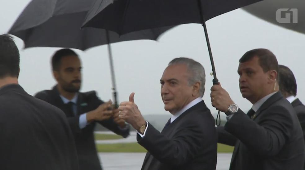 Michel Temer deverá embarcar no fim da tarde desta segunda para o país europeu (Foto: TV Globo)