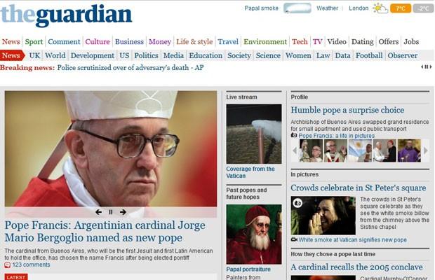 """Periódico britânico """"The Guardian"""" chama a atenção para novo Papa ser o primeiro vindo da América Latina e saído da ordem dos jesuítas (Foto: Reprodução)"""