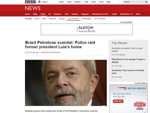 Operação envolvendo Lula é destaque na BBC (Foto: Reprodução/BBC)