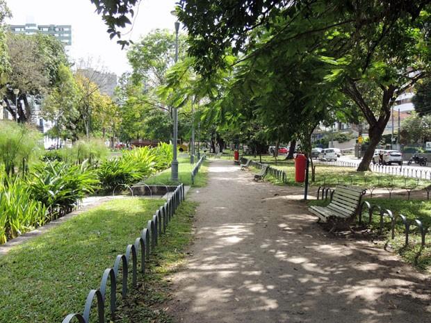 Praça de Casa Forte está entre as contempladas mais bem cuidadas (Foto: Marina Barbosa / G1)