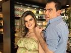 Mirella Santos mostra barrigão ao lado de Marco Antônio de Biaggi