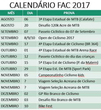 Calendário 2017 FAC parte II (Foto: Divulgação/FAC)