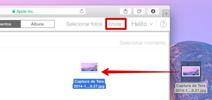 Adicionando fotos à biblioteca através do navegador (Foto: Reprodução/Helito Bijora)
