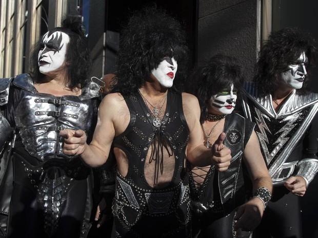 A banda KISS é fotografada durante lançamento na Sirius Satellite Radio, em Nova York. (Foto: Andrew Kelly/Reuters)