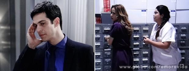 Momnetos antes, Félix ameaça a enfermeira (Foto: Amor à Vida / TV Globo)