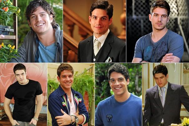 O ator Marco Pigossi em Sangue Bom (2013), em Gabriela (2012), em Fina Estampa (2011), em Ti-ti-ti (2010), em Caras e Bocas (2009), em Queridos Amigos (2008) e em Eterna Magia (2007) (Foto: Rede Globo)