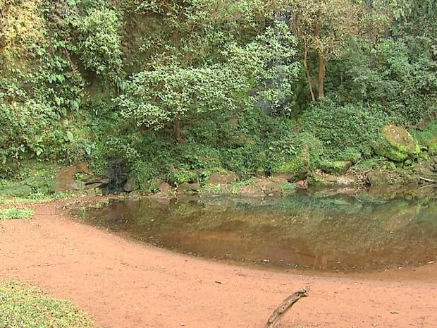 Empresário diz que lagoa tem menos da metade do volume de água (Foto: Carlos Trinca/EPTV)