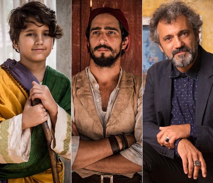 Na infância, Rogerinho Costa era Santo; na juventude, é Renato Góes quem interpreta o filho de Belmiro e Piedade e, na segunda fase, o papel é de Domingos Montagner (Foto: Caiuá Franco/ Globo)