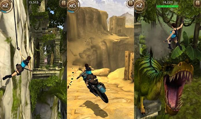 Lara irá exibir suas habilidades com rapel, motos e tiranossauros em Tomb Raider: Relic Run (Foto: Divulgação)