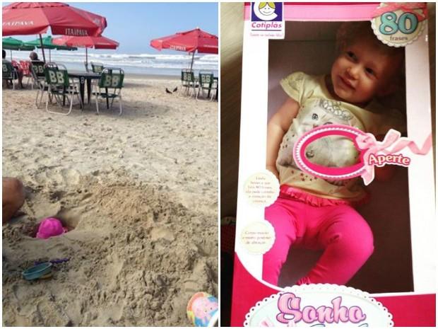 Entre as fotos mais comentadas estão a que Maria se esconde em um buraco na areia e dentro de uma caixa de boneca (Foto: Arquivo Pessoal/Leo Victorino)