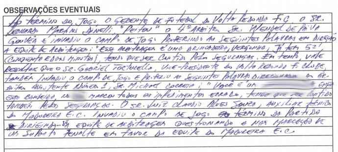 Árbitro relata em súmula ofensas dos dirigentes do Volta Redonda (Foto: Reprodução/Site da Ferj)