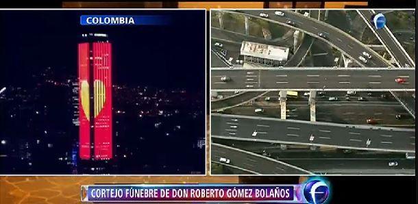 Homenagem feita a Roberto Bolaños em prédio na Colômbia (Foto: Reprodução/Televisa)