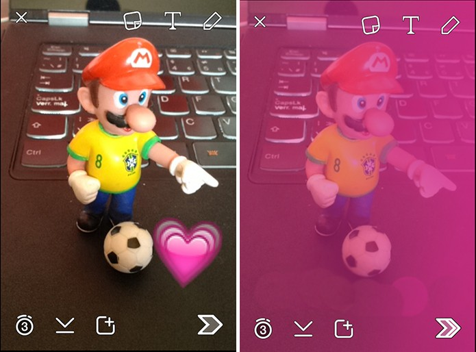 Snapchat pode ter cores adicionadas no iPhone a partir de emoticons (Foto: Reprodução/Elson de Souza)