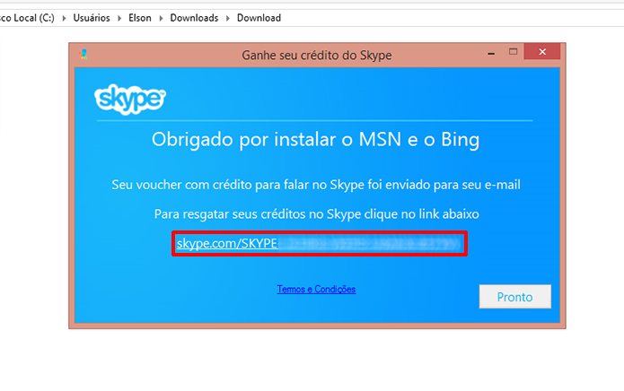 Skype Voucher fornece link e envia código para e-mail do usuário para obter créditos de graça (Foto: Divulgação/Elson de Souza)