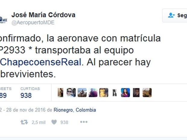 Twitter do Aeroporto José Maria Cordova confirma acidente com avião que transportava jogadores da Chapecoense  (Foto: Twitter / Aeroporto José Maria Córdova)