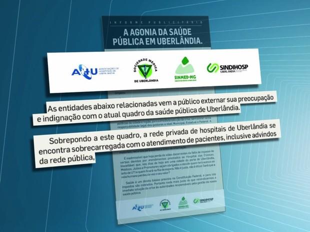 Informe sobre a saúde em Uberlândia (Foto: Reprodução/TV Integração)