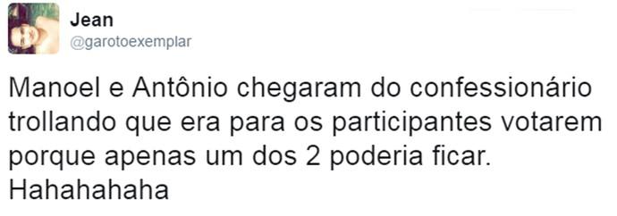 Internautas comentam participação dos gêmeos no GH (Foto: Reprodução da internet / Twitter @garotoexemplar)