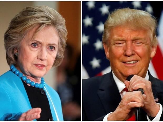 Fotos combinadas de Hillary Clinton e Donald Trump (Foto: Lucy Nicholson/Reuters; Jim Urquhart/Reuters)