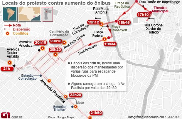 Mapa protestos SP 0h (Foto: Arte/G1)