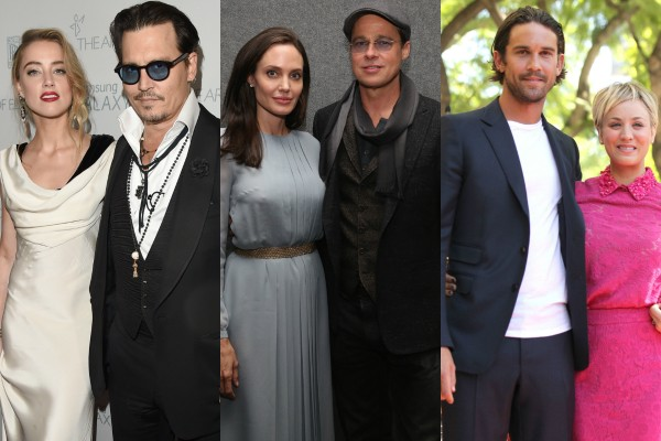 Johnny Depp e Amber Heard, Brad Pitt e Angelina Jolie e Kaley Cuoco e Ryan Sweeting (Foto: Getty Images)