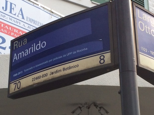 Ação clandestina fez homenagem a Amarildo virar nome de rua (Foto: Guilherme Brito/G1)