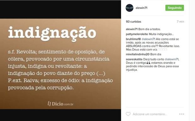 Alexandre Corrêa faz post no Instagram (Foto: Reprodução / Twitter)
